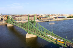 Liberty Bridge and Budapest Skyline Royalty Free Stock Photo
