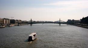 Liberty Bridge in Budapest. View of Liberty Bridge and Danube river in Budapest from Elisabeth Bridge Stock Photo
