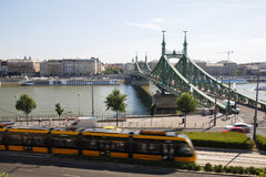 Liberty Bridge, the Danube river and the view of Pest. Budapest Royalty Free Stock Photo