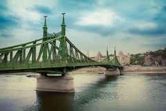 Liberty Bridge em Budapest, Hungria Foto de Stock