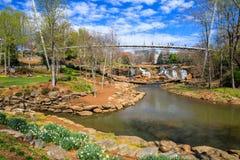 Liberty Bridge Falls Park Greenville South Carolina Royalty Free Stock Photos
