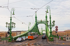 Liberty Bridge (grüne Brücke) in Budapest Lizenzfreie Stockbilder