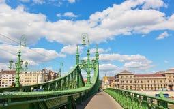 Liberty Bridge (green bridge) in Budapest Stock Images