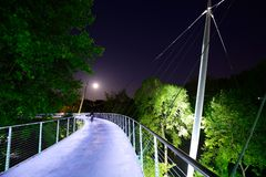 Liberty Bridge. In Greenville, SC. Below the bridge was Greenville's first settlement of Europeans established in 1768 Stock Image