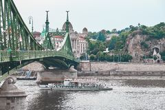 The Liberty Bridge. In Budapest stock image