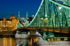 Liberty Bridge-mening, Boedapest, Hongarije stock afbeelding