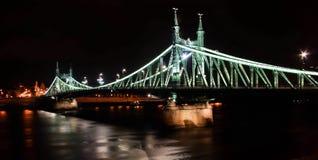 Liberty Bridge Budapest. Liberty bridge at night in the capital of Hungart Budaest Royalty Free Stock Image