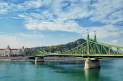 Liberty Bridge in old city center of Budapest. Hungary travel destination and tourism landmark royalty free stock image