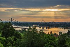 Bridge over the Danube. Liberty bridge over the Danube in Novi Sad, Serbia, photographed with the light of a sunset Stock Images