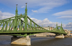 Liberty Bridge over Dunabe river in Budapest, Hungary Royalty Free Stock Image
