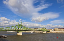 Liberty Bridge over Dunabe river in Budapest, Hungary Stock Photo