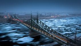 Liberty Bridge. Picture about the Liberty Bridge in Budapest with the frozen danube Stock Photo