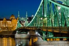 Liberty Bridge view, Budapest, Hungary stock image