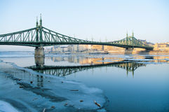 Liberty bridge in the winter Stock Image