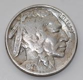 1927 Liberty Buffalo Nickel Stock Afbeelding