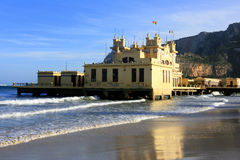 Liberty building on beach. Palemo, Sicily Royalty Free Stock Photos