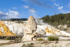 The Liberty Cap, a dormant hot spring cone at Mammoth Hot Spring, Yellowstone. National Park, USA stock photos