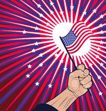 Liberty Concept - bandiera americana vicina della tenuta del pugno Fotografia Stock Libera da Diritti