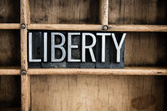 Liberty Concept Metal Letterpress Word in Drawer Stock Photo