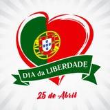 Liberty Day Portugal, emblema del cuore in bandiera nazionale colorata Immagini Stock Libere da Diritti