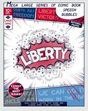 Liberty. Explosion in comic style with lettering. And realistic puffs smoke. 3D vector pop art speech bubble Stock Images