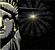 Liberty. The face of the Statue of Liberty over a sky rocket 4th July background Stock Photo