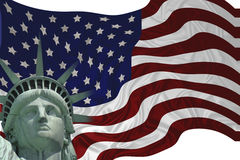 Liberty Flag. American flag with the Statue of Liberty vector illustration