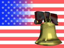 Liberty Flag. American flag adorned with a golden Liberty bell Stock Images