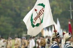 Liberty Flag voa no 225th aniversário da vitória em Yorktown, um reenactment do cerco de Yorktown, aonde Ge geral Fotos de Stock Royalty Free