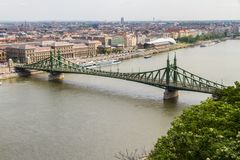 Liberty or Freedom Bridge on the River Danube, Budapest, Hungary. Liberty or Freedom Bridge on the River Danube on April 24 2018 in Budapest royalty free stock photography
