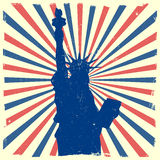 Liberty on grungy burst background. Detailed illustration of the Statue of Liberty in front of a grungy burst backbround Royalty Free Stock Photos