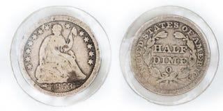 Liberty Half-Dime assis 1853-O Photo libre de droits