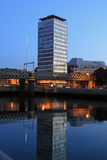 Liberty Hall Dublin Sunrise. Dublin cities Liberty Hall reflected in the River Liffey Stock Image