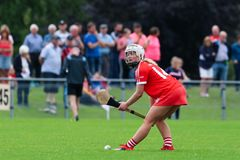 Liberty Insurance Camogie Intermediate Championship : Liège contre Dublin photos libres de droits