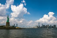 Liberty Island. View of Liberty Island and Manhattan from the Hudson river royalty free stock photos