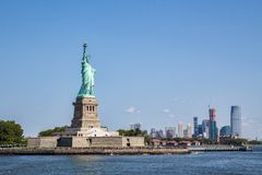 Liberty island with Manhattan as bakground stock image