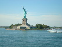 Liberty Island, New York Harbor. Statue Of Liberty Tours. Is a colossal neoclassical sculpture royalty free stock photo