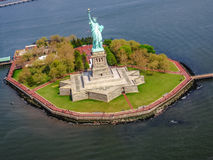 Liberty Island New York. Spectacular helicopter view of Liberty Island and the famous Statue of Liberty monument symbol of New York City, United States royalty free stock images