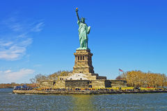 Liberty Island and Statue in Upper New York Bay Royalty Free Stock Images