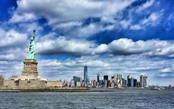 Liberty island. View of manhattan from liberty island stock photo