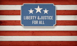 Liberty and Justic for all, US American color scheme. Liberty and Justice for all slogan from constitution of the USA on US American color scheme background Royalty Free Stock Photos