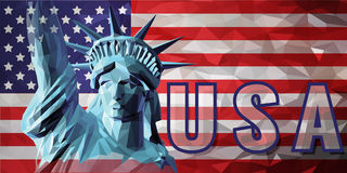 Liberty in low poly style on USA  background Royalty Free Stock Photos