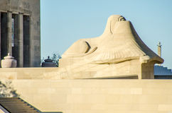 Liberty Memorial limestone sphinx statue. Liberty Memorial include prominent sphinx-like limestone statues placed to the south of the court, constructed in 1923 Stock Image