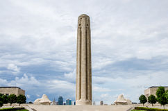 Liberty Memorial Tower. Tower at National WWI Museum at Liberty Memorial in Kansas City, Missouri with the skyline Royalty Free Stock Images