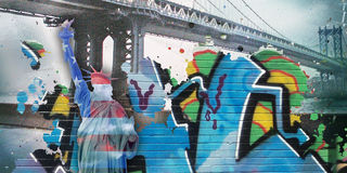 Liberty. Modernism. Liberty statue in national colors with graffiti. Manhattan bridge Stock Images