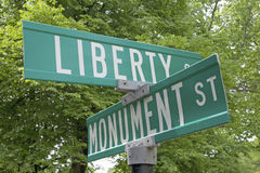 Liberty and Monument street Royalty Free Stock Photography
