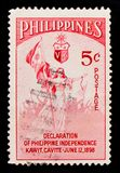 Liberty with National Flag, Declaration of Philippine Independence serie, circa 1954. MOSCOW, RUSSIA - OCTOBER 1, 2017: A stamp printed in Philippines shows royalty free stock photos