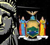 Liberty Over a night sky and NY Icon. The face of the Statue of Liberty over a night sky and icons from the state flag Stock Images