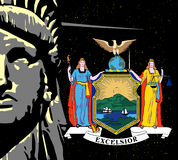 Liberty Over a night sky and NY Icon Royalty Free Stock Image