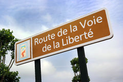 Liberty Road sign. The Path of Freedom sign - Path of Liberty is the commemorative way marking the victorious route of the Allied forces from D-Day in June 1944 royalty free stock photos